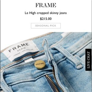 "**NWT** Frame ""Le High Skinny Crop"""